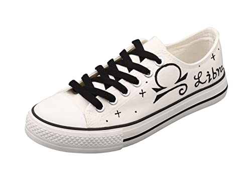 79b5f46015c45 E-LOV White Constellation Word Libra Hand-Painted Canvas Shoes Low ...