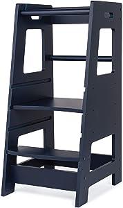 KidzWerks Child Standing Tower - Navy Blue Child Kitchen Step Stool with Adjustable Standing Platform - Wooden Montessori Standing Tower - Kid's Step Stool