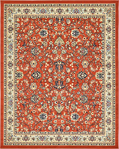 Unique Loom Kashan Collection Traditional Floral Overall Pattern with Border Terracotta Area Rug (8' 0 x 10' 0) (Terra Cotta Rug)