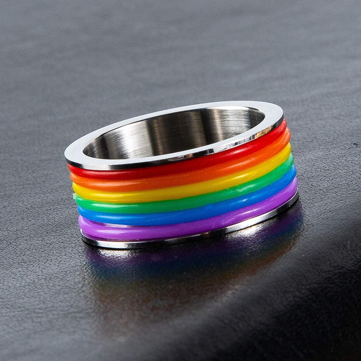 Fanery Sue Personalized Enamel Rainbow LGBT Pride Ring Custom Name Initial Ring for Lesbian /& Gay Stainless Steel Wedding Engagement Band