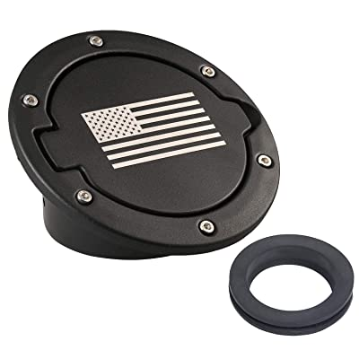 Hooke Road Fuel Filler Door Gas Cap Tank Cover for 2007-2020 Jeep Wrangler JK Sahara Rubicon Sport 2/4 Doors(US Flag): Automotive