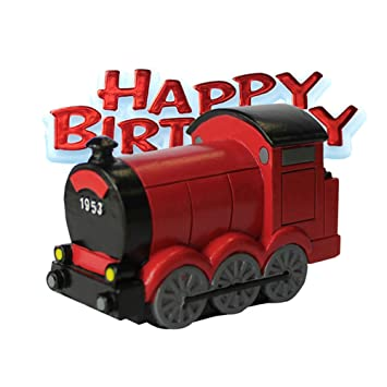 Creative Party Trains Happy Birthday Cake Topper One Size Red Black