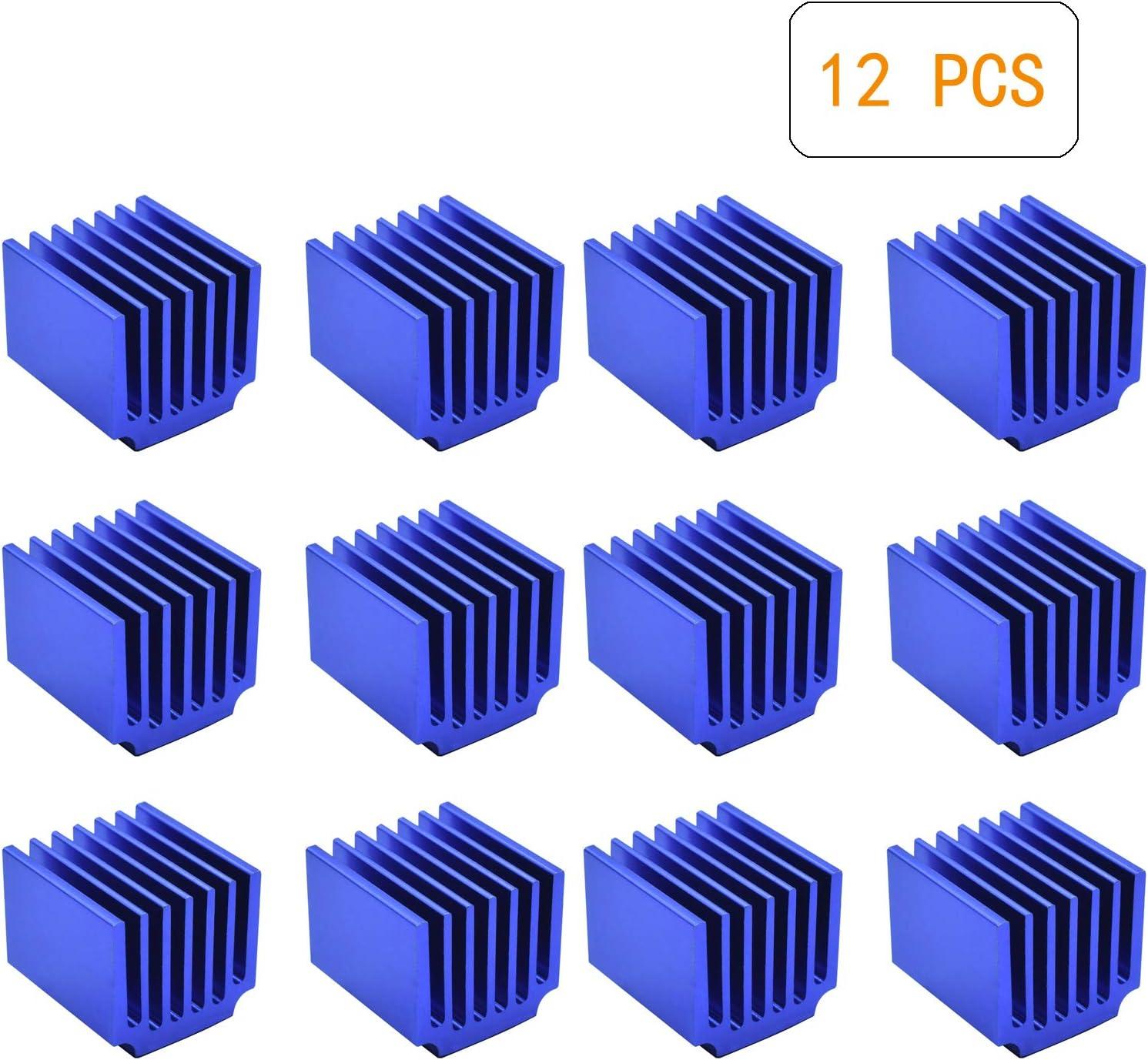 12 Pcs Stepper Motor Driver Heatsink, 3D Printer Parts Driver Heat Sink Aluminum Heatsinks Cooling Fin Drivers for Raspberry Pi LV8729 A4988 DRV8825 TMC2208 TMC2100 TMC2130 Driver, Blue