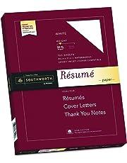 "Southworth 100% Cotton Resume Paper, 8.5"" x 11"", 24 lb , White 100 Sheets"