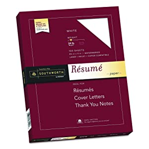 "Southworth 100% Cotton Resume Paper, 8.5"" x 11"", 24 lb , White 100 Sheets"