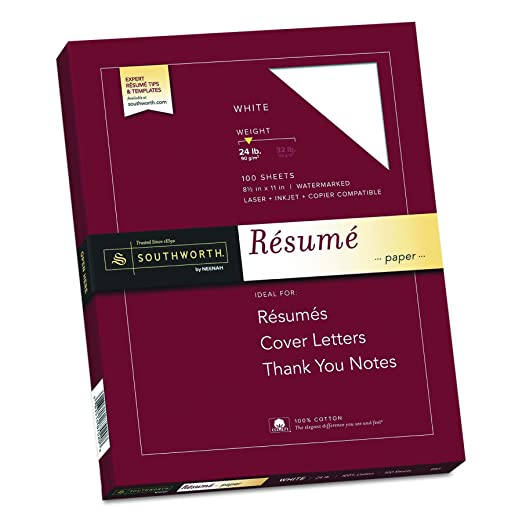 amazoncom southworth 100 cotton resume paper 85 x 11 24 lb white 100 sheets multipurpose paper office products