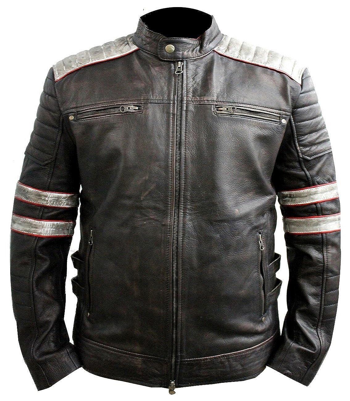 Hollywood Jacket Vintage Motorcycle Jackets For Men   Vintage Motorcycle  Jacket   Cafe Racer Leather Motorcycle Jacket at Amazon Men's Clothing  store: