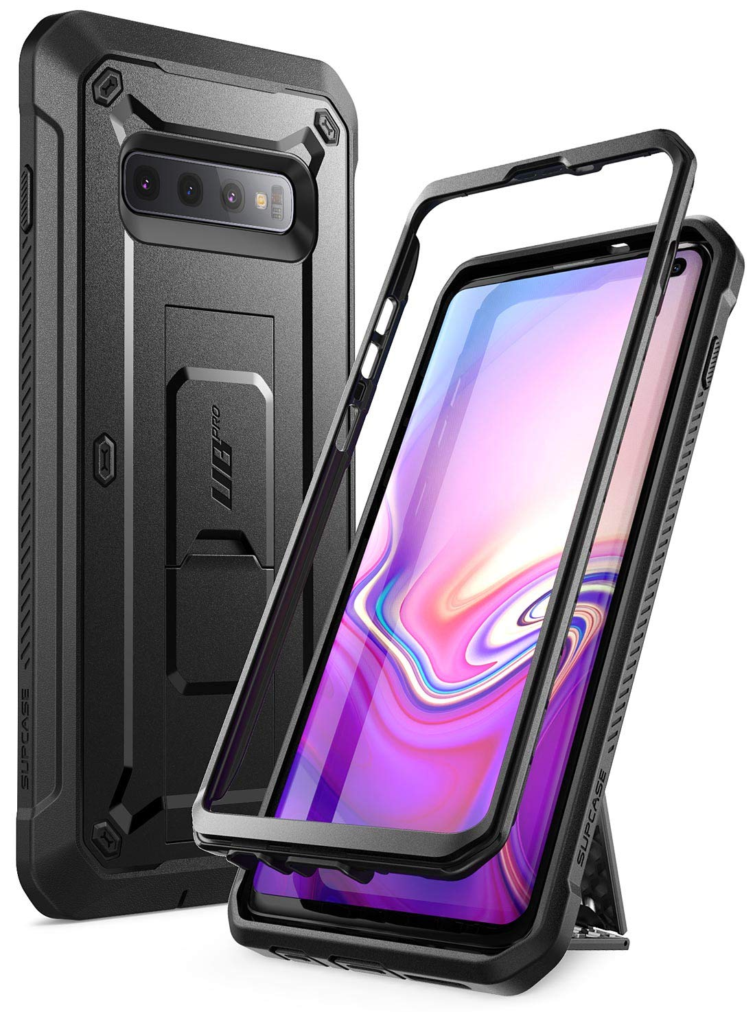 SUPCASE Unicorn Beetle Pro Series Designed for Samsung Galaxy S10 Case (2019 Release) Full-Body Dual Layer Rugged with Holster & Kickstand Without Built-in Screen Protector (Black) by SupCase