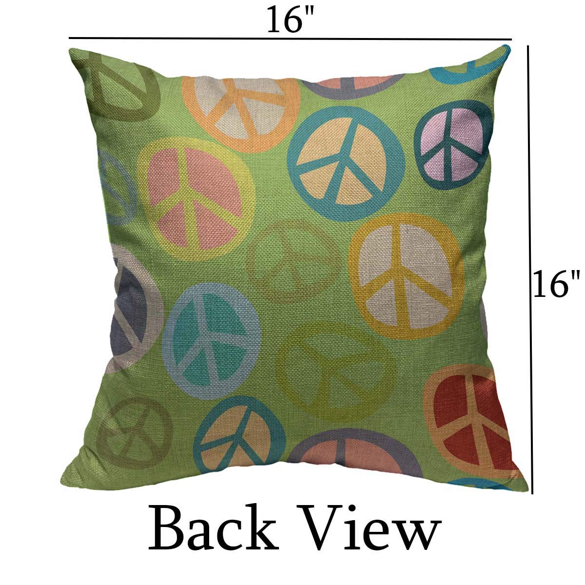 Mugod Peace Sign Decoration Throw Pillow Cushion Covers Colorful Hippy Peace Sign Seamless Pattern with Green Background Print Funny Pillows Home Decor Couch Pillow Case 18 X 18 Inch