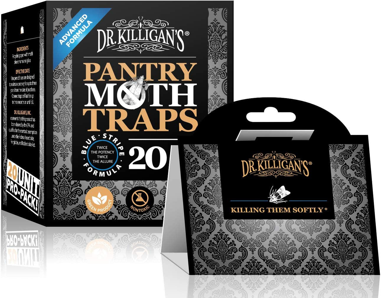 Dr. Killigan's Premium Pantry Moth Traps with Pheromones Prime | Safe, Non-Toxic with No Insecticides | Sticky Glue Trap for Food and Cupboard Moths in Your Kitchen | Organic (20, Black)