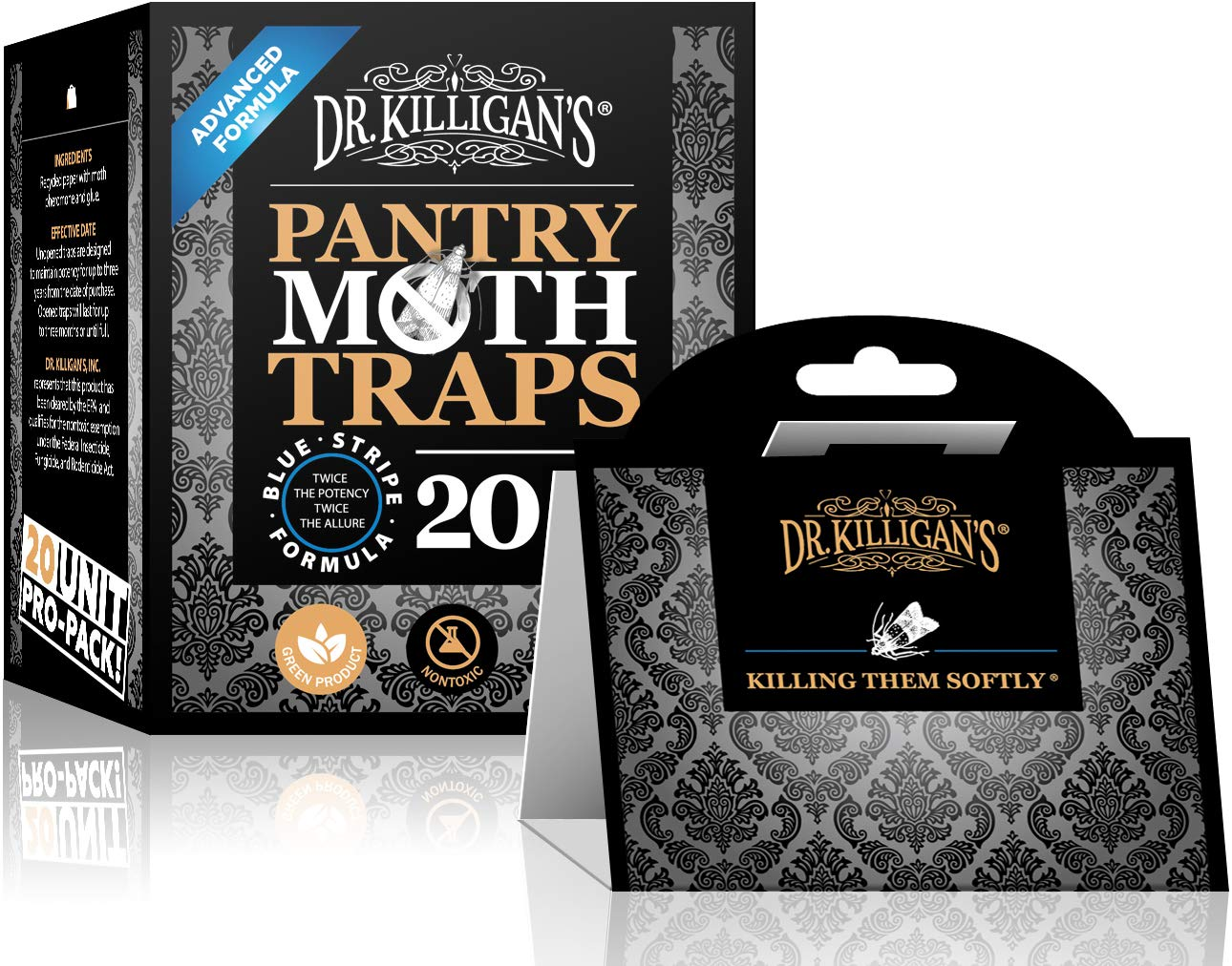 Dr. Killigan's Premium Pantry Moth Traps with Pheromones Prime | Safe, Non-Toxic with No Insecticides | Sticky Glue Trap for Food and Cupboard Moths in Your Kitchen | Organic (Black, 20)
