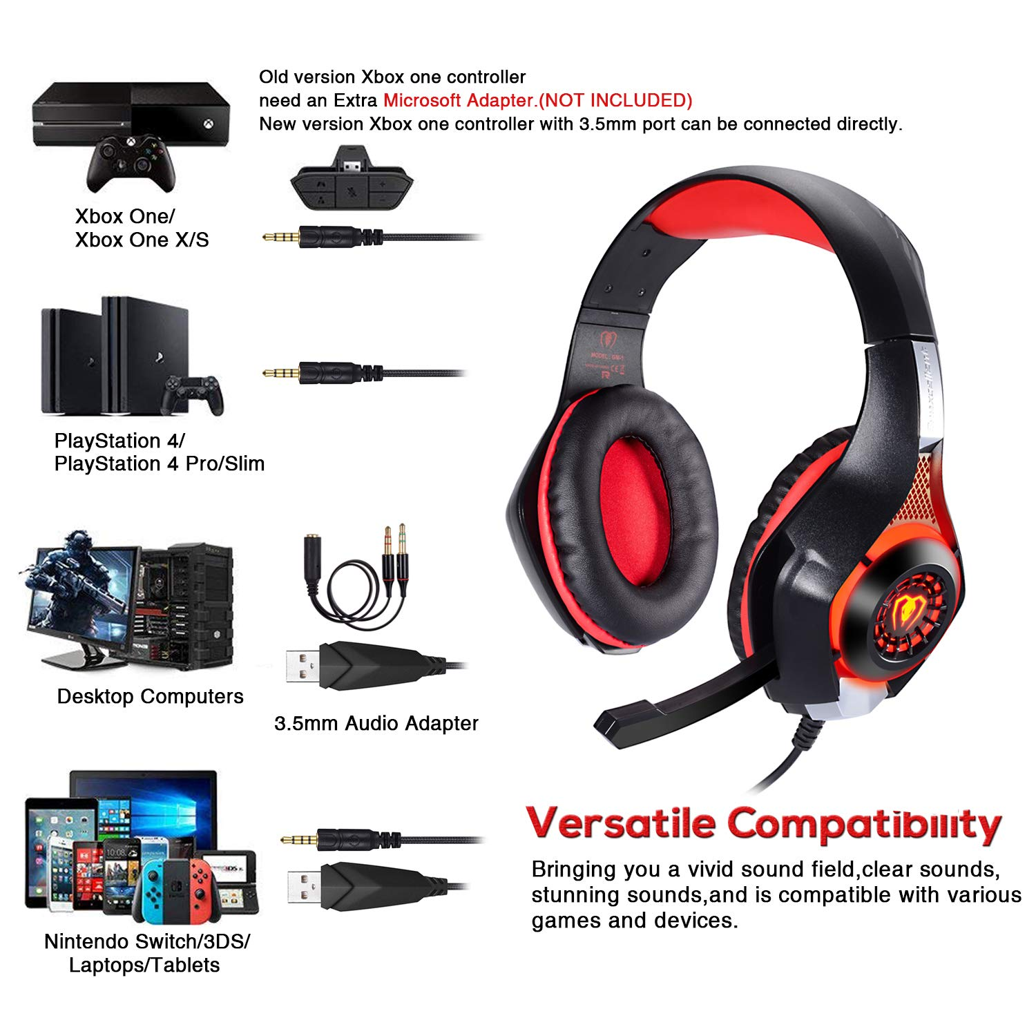 Amazon.com: BlueFire 3.5mm PS4 Gaming Headset Headphone with Microphone and LED Light Compatible with Playstation 4, Xbox one, PC (Red): Computers & ...