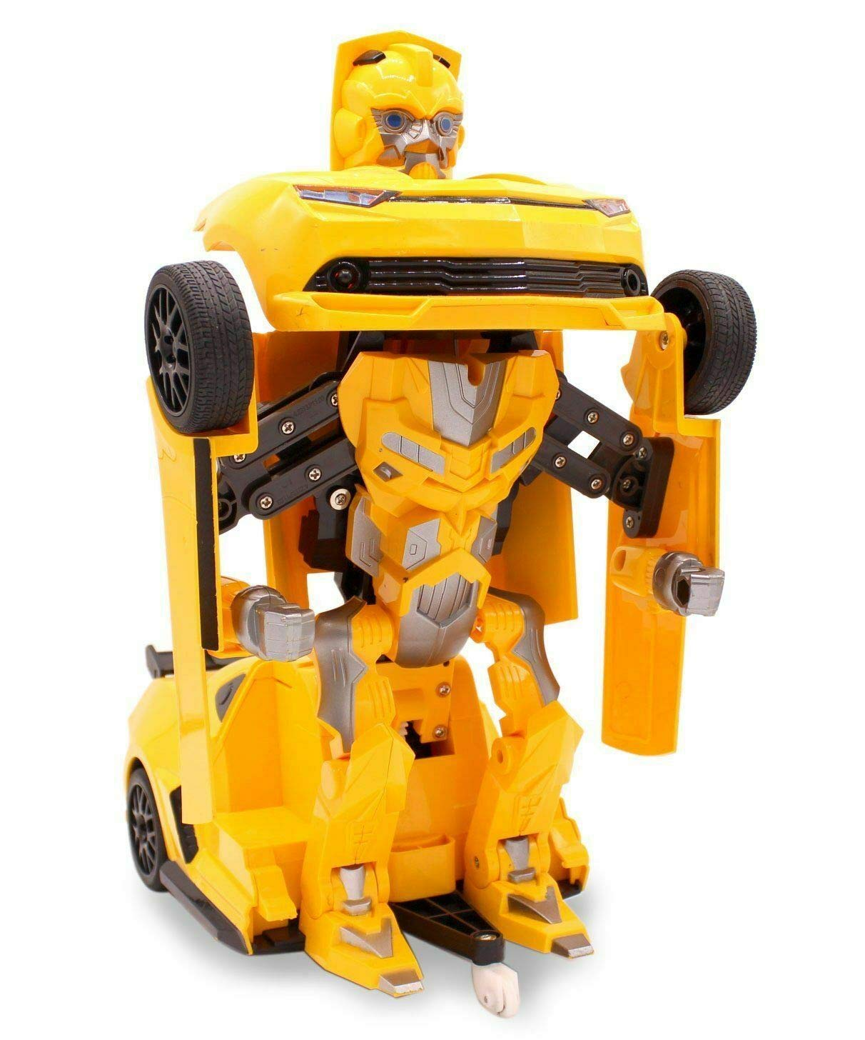 Kids RC Toy Sports Car Transforming Robot Remote Control with One Button Transformation, Realistic Engine Sounds, 360 Speed Drifting, Sword and Shield Included Toys For Boys 1:14 Scale Yellow by Transformania Toys (Image #3)