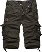 Men's Relaxed Fit Solid Long Cargo Shorts Capri Pants (no belt)