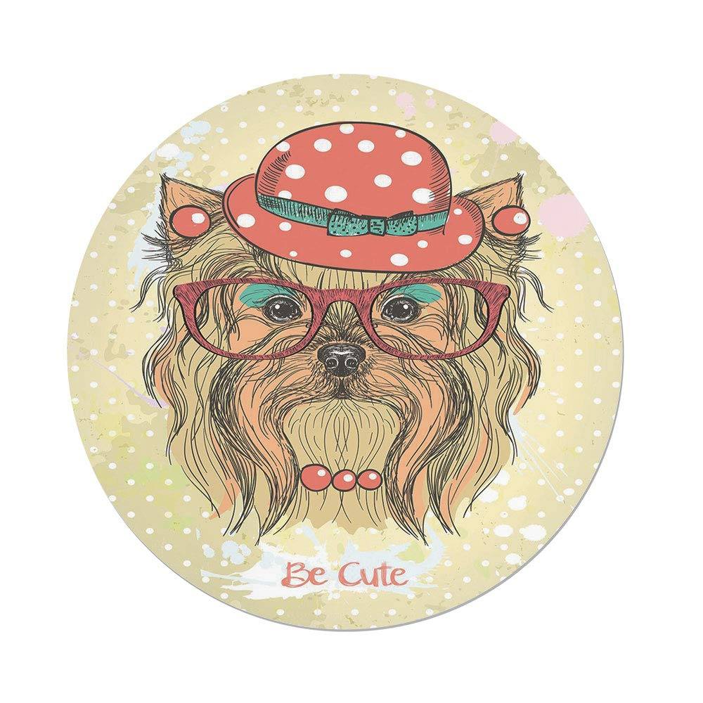 Polyester Round Tablecloth,Yorkie,Be Cute Portrait of an Adorable Dog with Earrings Necklace Glasses Hat Makeup,Light Brown Coral,Dining Room Kitchen Picnic Table Cloth Cover,for Outdoor Indoor by iPrint