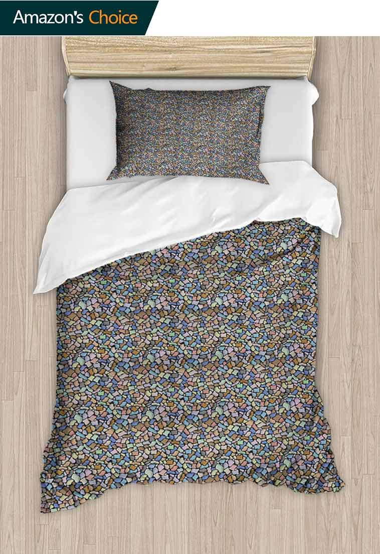 Colorful DIY Duvet Cover and Pillowcase Set, Colorful Stones Pattern Cartoon Style Ornamental Abstract Rubble Illustration, Cool 3D Outer Space Bedding Digital Print - 2 Piece, 79 W x 90 L Inches