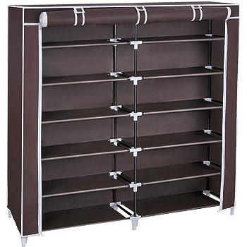 SONGMICS 7 Tiers Shoe Rack Closet With Fabric Cover Portable Shoe Storage  Organizer Cabinet Dark Brown URXJ12Z