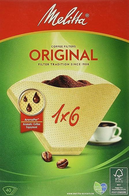 Melitta, 40 Filtros de café, Tamaño 1x6, Para cafeteras de filtro, Original