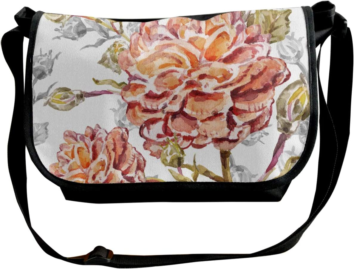 Watercolor From Picturesque Tropical Flowers With Roses Wide Crossbody Shoulder Bag For Women Small Phone Purse With Credit Card Holders Customized