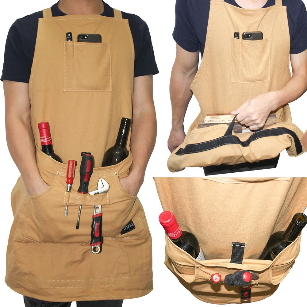 Heavy Duty Cotton Canvas Utility Work Bib Apron, Durable with Special Handle Pouch for Paint, Art, Carpenter, Gardener, BBQ and Men & Women with Cross-Back Straps & Adjustable to XXL, Tan by EAVEGG