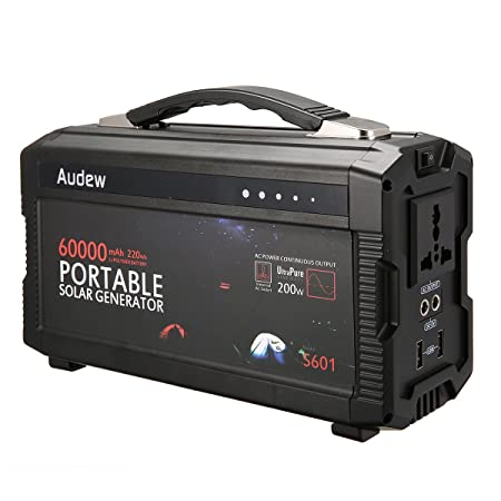 Audew Portable Inverter,Portable Battery Generator Power Source-Lithium Battery Power Supply with 12V DC 110V AC USB Outputs 220Wh