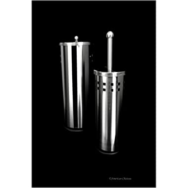 American Chateau Bathroom Set Stainless Steel Toilet Brush Holder & Paper Holder Storage with Lid