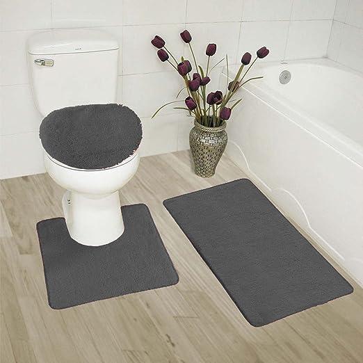 Thick 3 Piece Stripe High Pile Bathroom Set Bath Mat Rug /& Lid Cover Black Gray