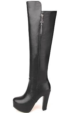 facbf60e0938 BIGTREE Rodilla Botas Altas Mujer Cuero de PU Casual Tacón alto Otoño  Invierno Cálidas Plataforma Botas largas De