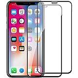 iPhone XS MAX ガラスフイルム iPhone XS MAX 強化ガラス【2枚セット】最大硬度9H/高透過率/自動吸着/9DカーブLCD保護フィルムアンチコリジョン指紋保護/全面フルカバー 6.5インチ(黒)