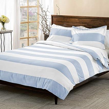 Amazon Com 3 Piece Light Blue White Rugby Stripes Duvet Cover Full