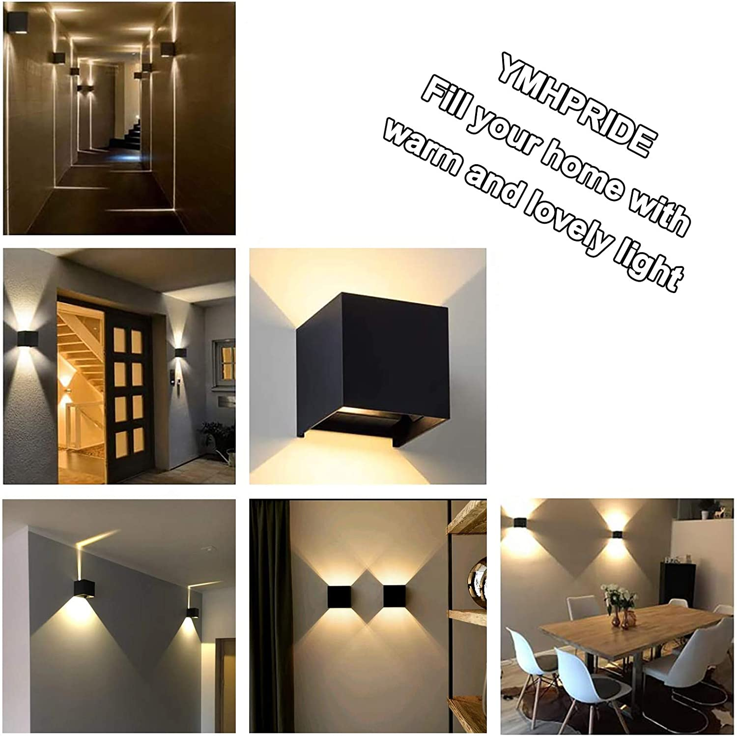 Adjustable Light Angle Up and Down Wall Lamp for Living Room Bedroom and Garden YMHPRIDE 2 Pcs Adjustable LED Wall Sconce Lights Lamps 7W Modern Wall Wash Lighting 3000K IP65 Energy Class A+