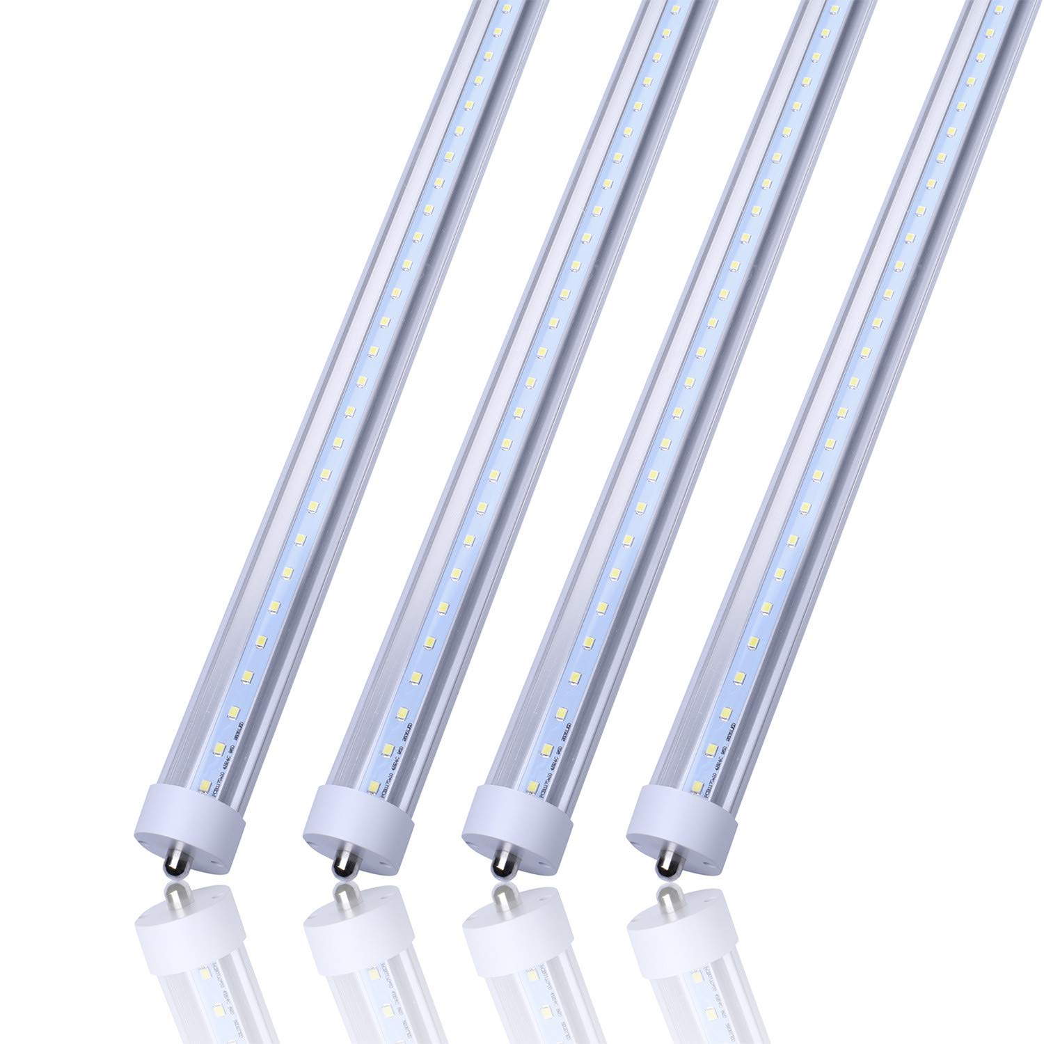 8FT T8 FA8 5000K LED Light Tube 45W Replacement 100W Fluorescent Lamp Shop Light Bulb, Single Pin FA8 Base Dual-Ended Power Cold White Clear Cover, AC 85-265V 4 Pack