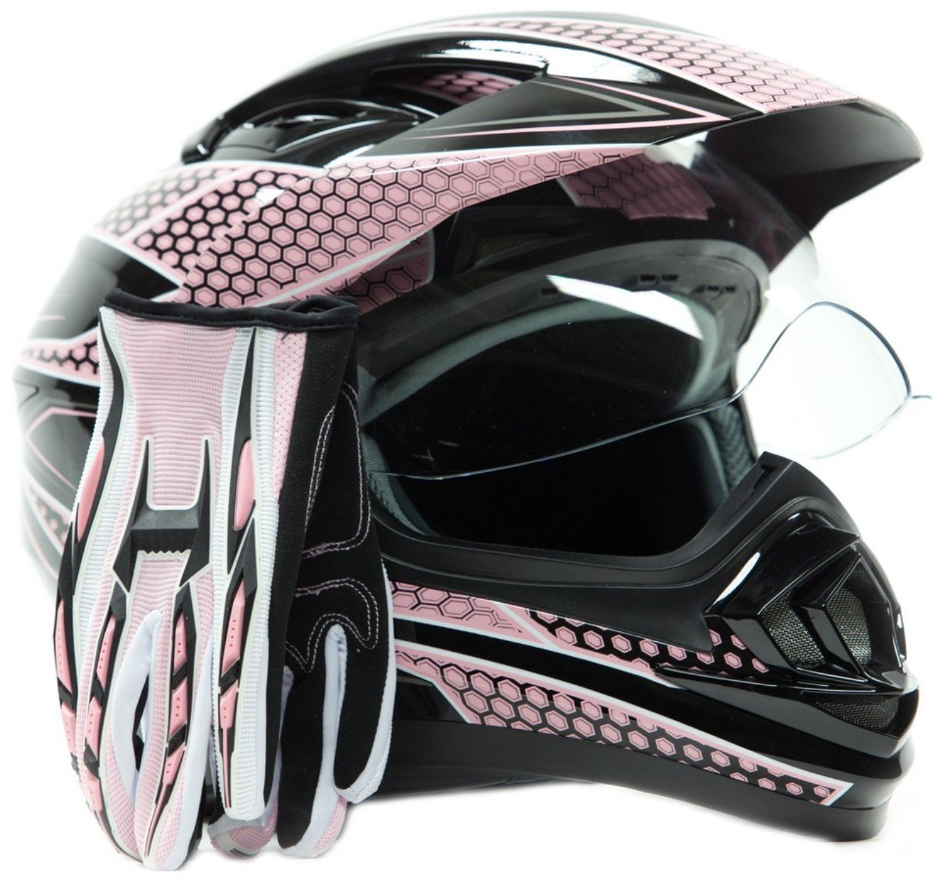 Dual Sport Helmet Combo w/Gloves - Off Road Motocross UTV ATV Motorcycle Enduro - Pink - Medium