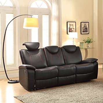 Pleasing Amazon Com Talbot Double Reclining Sofa In Black Leather By Onthecornerstone Fun Painted Chair Ideas Images Onthecornerstoneorg