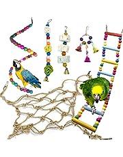 Jouets pour Oiseaux, PietyPet 6 Pièces Hamac Filet de Corde, Balançoires, Échelles, Escalade Perché pour Cages à Oiseaux de petite et moyenne taille, Perroquets