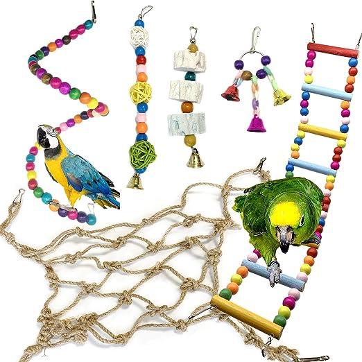 Juguetes para Pájaros, PietyPet 6 Piezas Redes de cuerda Pájaros Juguetes, Perchas, Escalera de madera, Columpios, Hamaca de Madera, Que cuelga la Perca Juguete para pequeños loros de aves: Amazon.es: Productos para