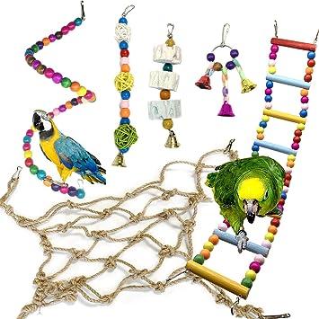 Juguetes para Pájaros, PietyPet 6 Piezas Redes de cuerda Pájaros ...