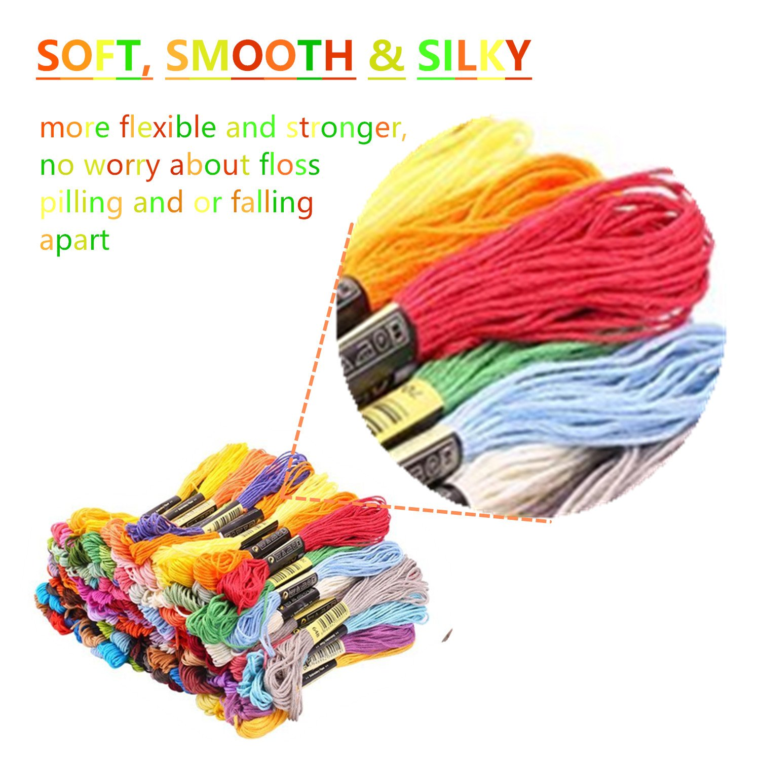 Embroidery Floss Thread 72 Kit TICOSH Premium Rainbow Colors Craft Floss for Friendship Bracelets String Cross Stitch Floss with 9 Needles, 10 Floss Robbins, 1 Needle-Threading, 1 Thimble and 1 Untwist Tool (50)