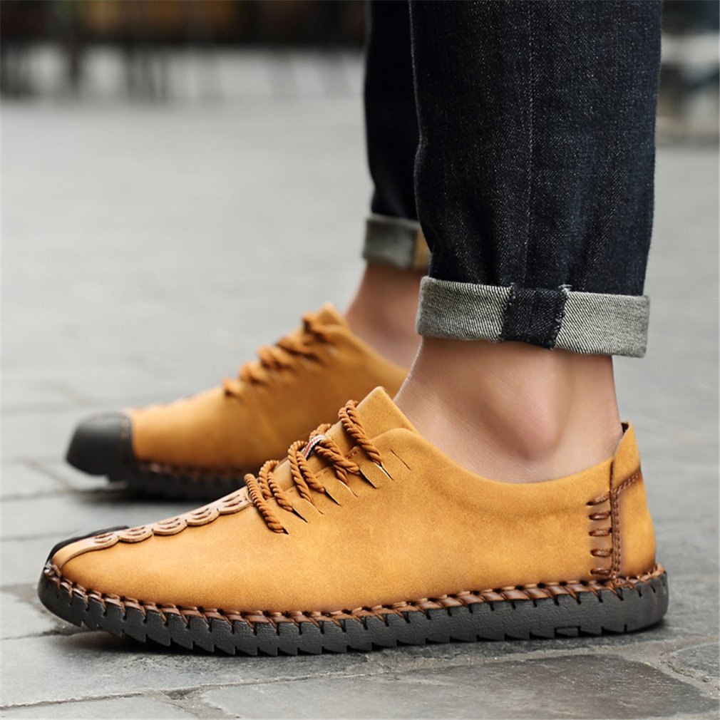 Suede Casual Shoes Men's British Style Handmade Leather Oxford Shoes Flats Lace-up Loafers Flats Sneakers Z8896