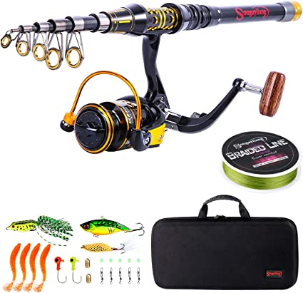 Amazon Com Sougayilang Fishing Rod Reel Combos Telescopic Fishing Pole With Spinning Reel For Adults Kids Outdoor Sport Travel Freshwater Saltwater Fishing Sports Outdoors