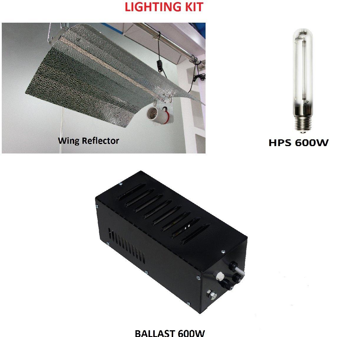 Hydroponic Tent Grow Light Kit Ballast Euro Reflector System HPS 250w 400w 600w