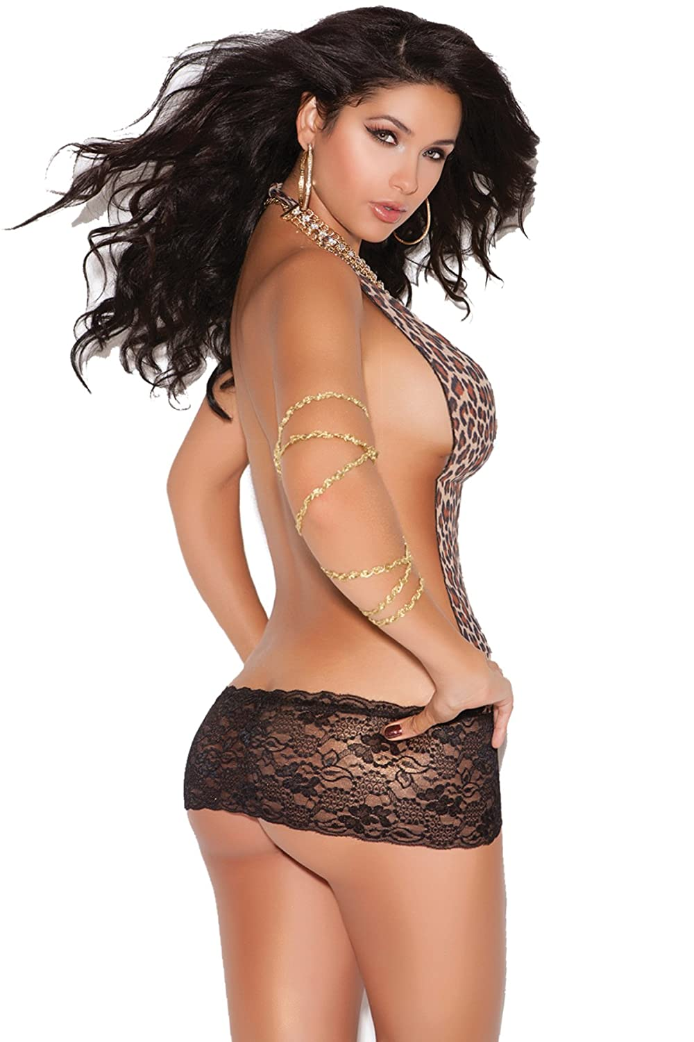 Amazon.com  Sexy leopard print Deep V mini dress with lace skirt Dancewear  lingerie  Clothing e5b08329b