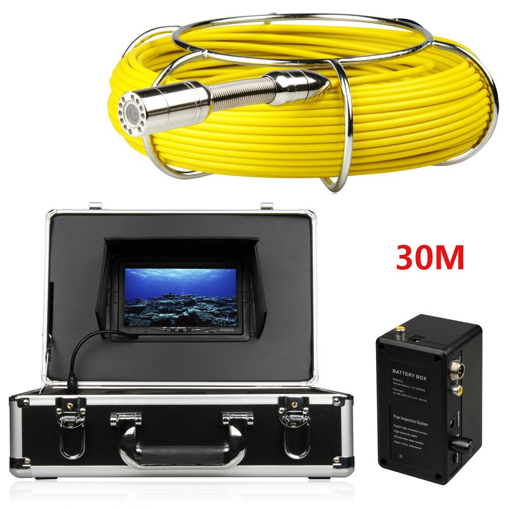 JINPENGPENG 7 inch Large Industrial Pipe Sewer Inspection Camera IP68 Waterproof 1000 TVL Camera DVR Video (20M,30M,40M,50M),30M