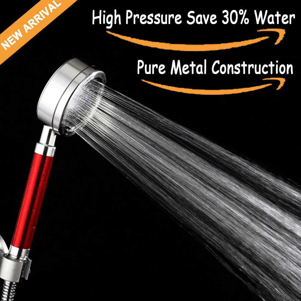 Stainless Hand Shower Head,Full Metal Handheld Shower Head Extrem High Pressure Space-Grade Aluminum Spayer with Filter Water Saving Flow Resistor 1.8GMP Fine thin Flow-Royal Red