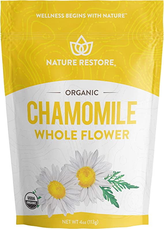 Organic Chamomile Whole Flower, Loose Leaf, Tea Leaves, 4oz (Packaging may vary)
