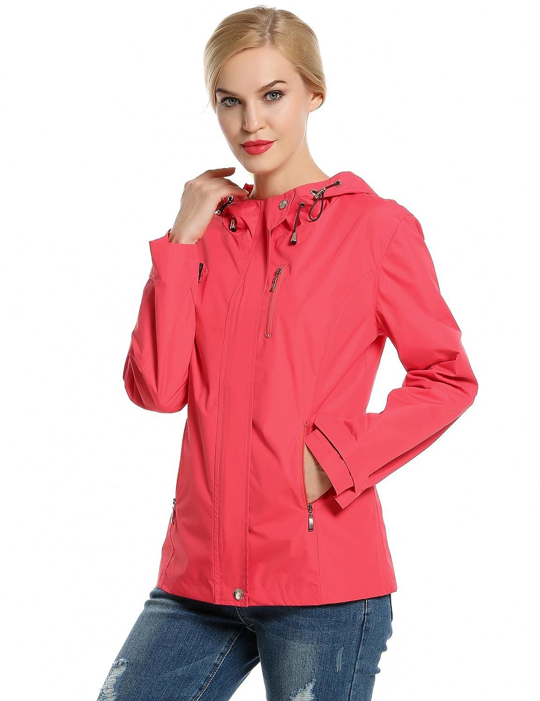 Meaneor Womens Active Ourdoor Durable Waterproof Windbreak Hooded Rain Jacket AMH005363#