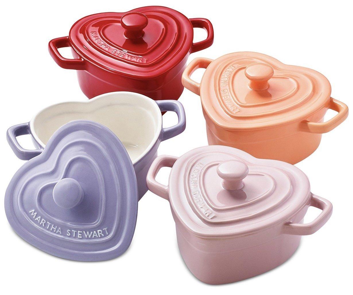 Martha Stewart Collection 4 Pc Heart Cocottes Set, 8oz each