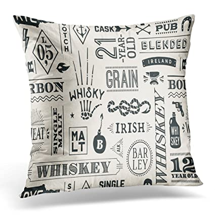 Amazon TOMKEYS Throw Pillow Cover Types Of Whiskey And Awesome Pillow Types Decorative