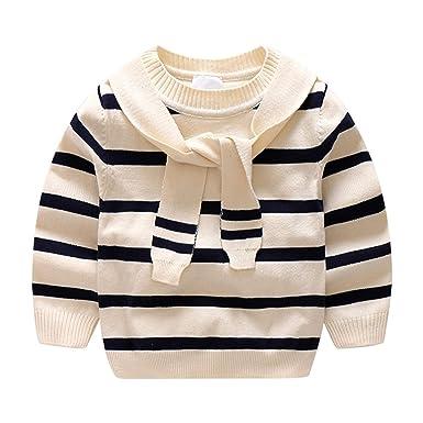 8c807f297858 Amazon.com  Kids Winter Sweater Boys Long Sleeve Patchwork Preppy ...