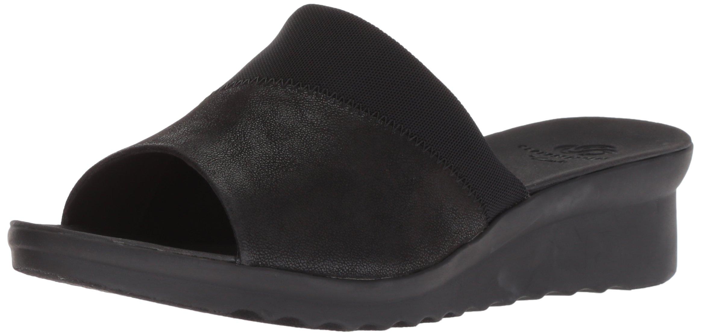 CLARKS Women's Caddell Ivy Slide Sandal, Black Synthetic, 8 W US